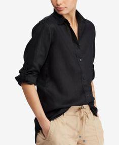 9eb6a41b5829be Lauren Ralph Lauren Straight Fit Linen Shirt Travel Wardrobe, Ralph Lauren,  Trousers, Button