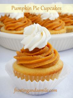 Pumpkin Pie Frosting -Leftover pumpkin pie?  You can pipe it onto cupcakes! via Frosting and a Smile