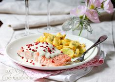 Roasted Salmon with Pink Peppercorn Sauce via @spicyperspectiv