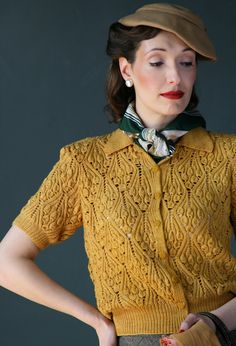 Gorgeous mustard hued sweater from the book A Stitch in Time:1940s have a similar vintage top nice idea