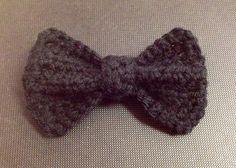 Handmade Crocheted bow tie hair clip bowtie black yarn half-double crochet hair barrette  by KeepaCap on Etsy