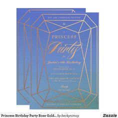 """Princess Birthday Party Rose Gold Jewel Card A cute yet sophisticated birthday party invitation for your little princess. Purple to blue watercolor background with rose gold deatils, princess jewel gemstone party invitation. """"Princess"""" is editable so you can customize it to suit your event. A birthday tea perhaps or jewelry making party. All text is customizable except for the script """"Party"""". Please contact me with any questions or special requests. Thanks for looking."""