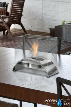 Eco-Feu's line of beautiful, contemporary and environmentally-friendly bio-ethanol fireplaces go great in interior or exterior spaces. Biofuel Fireplace, Bioethanol Fireplace, Gas Fireplace, Foyers, Modern Table, Modern Decor, Tabletop Fireplaces, Outdoor Fireplaces, Stainless Steel Table Top