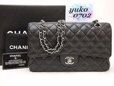 "m3968 Auth CHANEL Black Caviar Skin 10"" DOUBLE FLAP Chain Shoulder Bag SHW"