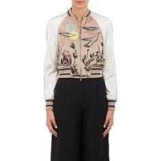 Valentino Women's Embellished Satin Bomber Jacket ($4,980) ❤ liked on Polyvore featuring outerwear, jackets, pink, beaded jacket, embellished jacket, embroidered jacket, blouson jacket and bomber jacket