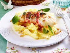 Fischsaltimbocca mit Kartoffel-Sellerie-Püree