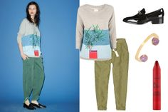Band of Outsiders Palm Printed Sweatshirt, $286, available at Les Nouvelles; 3.1 Phillip Lim Quinn Crystal-Embellished Loafers, $695, available at La Garçonne; Wilfred Allant Pant, $110, available at Aritzia; Tarte LipSurgence Matte Lip Tint in Fiery, $24, available at Sephora; Kelly Wearstler Delphina Cuff, $325, available at Kelly Wearstler.