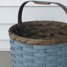 Painted Round Basket by JoannasCollections on Etsy, $52.00