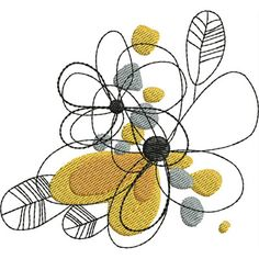 Free Embroidery Design: Abstract Line Flowers