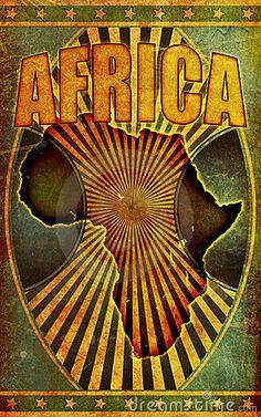 Old, Grunge Retro Africa Poster Illustration by Derek Audette, via Dreamstime