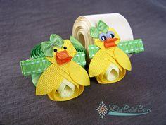 Baby Duck Ribbon Sculpture Hair Clip Ducky Hair by EllaBellaBowsWI
