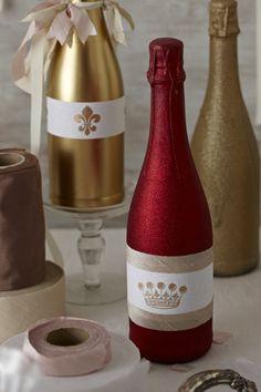 DIY Champagne bottle centerpieces