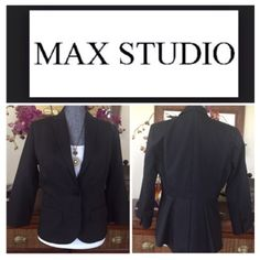 """Max Studio Black Three Quarter Blazer.  NWT. Max Studio Black Three Quarter Sleeve Blazer, fully lined, 82% cotton, 18% polyester, dry clean, three front faux pockets, 19"""" armpit to armpit (38"""" all around), 13"""" arm inseam, 23"""" length, 8.5"""" back split, two front faux flap pockets, one front button closure, lightly padded shoulders, back fish tail, fabric is quilted-like with tine lines, measurements are approx.  No PayPal...No Trades... Max Studio Jackets & Coats Blazers"""