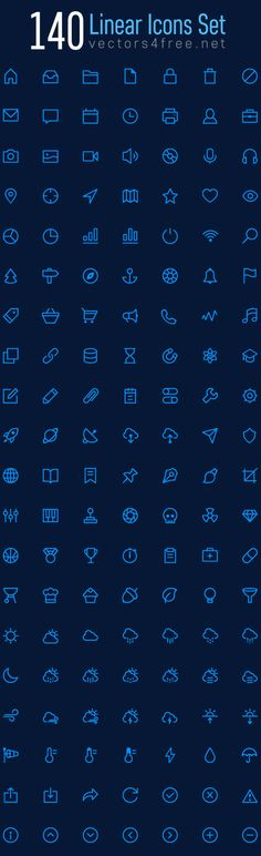 140 Linear Icons vector set - download free on Behance
