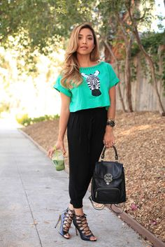 crop top and harem pants outfit