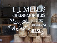 How fabulous is this window lettering for I. Mellis Cheesemongers in Edinburgh? Café Bistro, Storefront Signs, Future Shop, Window Types, Cheese Shop, Window Signs, Artisan Cheese, Typography, Lettering
