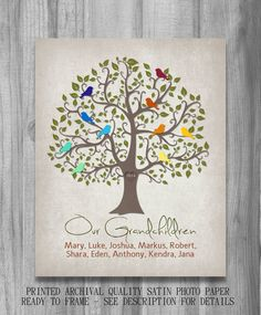 Our Grandchildren Personalized Gift Family Tree Birds Print Grandparents Gift Names Unique Art Christmas Gift