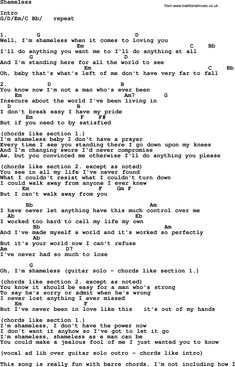 Tabs  Shameless, lyrics and chords
