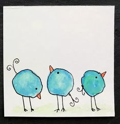 Drawings Easy Whimsical Water Color Blob Birds - Easy and fun watercolor project turns blobs into birds! Watercolor Paintings For Beginners, Watercolor Projects, Watercolor And Ink, Watercolor Flowers, Tattoo Watercolor, Watercolor Landscape, Watercolor Animals, Watercolor Techniques, Watercolor Background