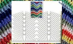 Crochet Zig-Zag o Ripple Stitch - Chart ❥ // hf Zig Zag Crochet, Crochet Ripple, Crochet Diagram, Crochet Chart, Crochet Motif, Diy Crochet, Crotchet Stitches, Crochet Stitches Patterns, Stitch Patterns