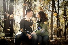 Rhea + Brian - #Mokena #forest #preserve #engagement - one of my favorites - more #fun with #leaves! :)