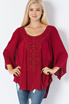 Deep Red Peasant Tunic – Laney Lu's Boutique www.laneylus.com
