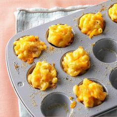 Mini Mac & Cheese Bites Recipe -Young relatives were coming for a Christmas party, so I wanted something fun for them to eat. Instead, the adults devoured my mini mac and cheese. —Kate Mainiero, Elizaville, New York