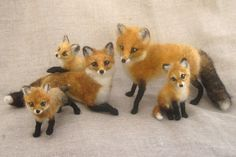 Reserved for Marcella, needle felted fox family via Etsy