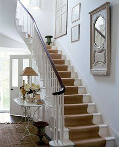 cottage and vine: DIY Stair Runner - white stairs Painted Stairs, Wooden Stairs, Bannister Ideas Painted, Sisal Stair Runner, Stair Runners, Rug Runners, White Stairs, White Banister, White Hallway