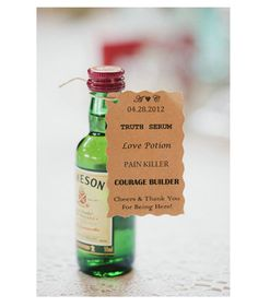 Tiny bottle of Jameson as a bachelor or bachelorette party favour