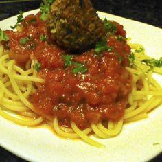 Spaghetti and Chickpea No Meatballs