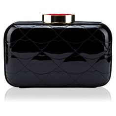 Black Quilted Lips Patent Fifi Clutch ($390) ❤ liked on Polyvore