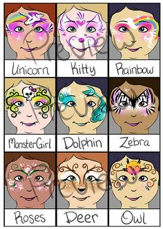 2015 Super Face Painting Menu Part 1 of 2 by PatchesTheClown