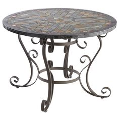Verazze outdoor dining table. $599. PierOne. Hand-placed tiles create an intricate, mosaic design on our metal dining table, while the scrolled base adds traditional elegance. We love how it looks in the garden or on a patio, accentuated with fresh flowers or a blossoming bud on top, but it looks equally as nice featuring a fun picnic spread.