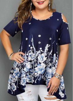 Plus Size Fashion : Plus Size Cold Shoulder Floral Print Asymmetric Hem Blouse Plus Size Skirts, Plus Size Blouses, Plus Size Outfits, Plus Size Tips, Plus Size Model, Curvy Fashion, Plus Size Fashion, Fashion Looks, Cold Shoulder Bluse