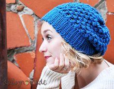 Slouchy Teal Crochet Beanie Women's Hat Winter by dallynmade