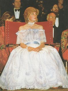 Princess Diana, the night before her pregnancy was announced, a bit before she actually fell asleep in the chair!