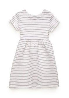 J. Khaki White Glitter Stripe Dress Girls 4-6x