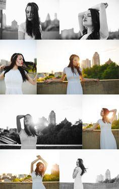 Philadelphia Fashion Photographer, rooftop, skyline, white dress, simple bride, city bride, sunset, sun flare www.sliceoflimephotography.com