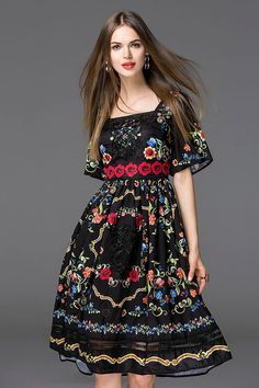 Shop by megyn black embroidery bell sleeve flare dress here, find your knee length dresses at dezzal, huge selection and best quality. Pretty Dresses, Beautiful Dresses, Knee Length Dresses, Dresses With Sleeves, Online Fashion, Dress Outfits, Fashion Dresses, Vogue Dresses, Embroidery Dress