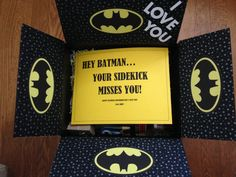 "Batman care package! ""Hey Batman... Your sidekick misses you!"""