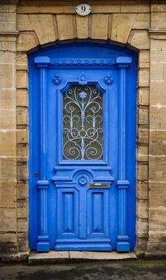 Blue door in Bayeux, Calvados, France Door Entryway, Entrance Doors, Doorway, Front Doors, Cool Doors, Unique Doors, Door Knockers, Door Knobs, Door Handles