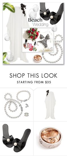 """""""Nautical Nuptials"""" by interesting-times ❤ liked on Polyvore featuring Mikimoto, Esme Vie, Vichy, Cartier and beachday"""