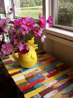 """My Paint-Stick Table Creation and Garden Cosmos"" by matangi.etsy on flickr. WHAT an idea for an Art Teacher !!"