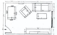 Distribución y medidas de los muebles en un salón rectangular