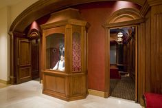 The theater in this home boasts $150,000 of mahogany cabinetry by Pierre Lange. It seats 13, and 3 of the seats move with the movie's action.