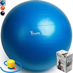 Love Yoga! Exercise Ball, LuxFit Premium EXTRA THICK Yoga Ball '2 Year Warranty' - Swiss Ball Includes Foot Pump. Anti-Burst - Slip Resistant! 45cm, 55cm, 65cm, 75cm, 85cm Size Fitness Balls (Blue, 65cm)