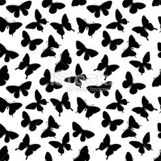 Beautiful seamless background with butterflies silhouettes. Royalty Free Stock Vector Art Illustration