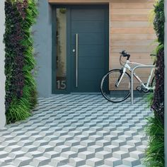 Home Excelent, Incredible Modern Pavers To Complete Driveway Paving Ideas Pavers For Your Home Design Ideas ~ Garden Ideas Driveway, Driveway Design, Grey Block Paving, Block Paving Driveway, Walkway, Paving Pattern, Paver Designs, Paving Design, Paving Ideas