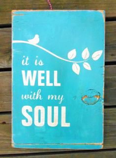 Typography Wall Art- It Is Well With My Soul Wood Sign in Blue. $60.00, via Etsy.